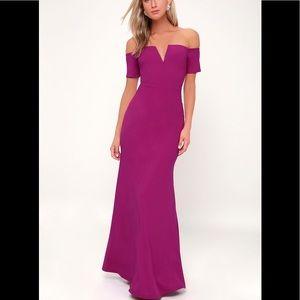 Lynne Magenta Off-the-Shoulder Maxi Dress